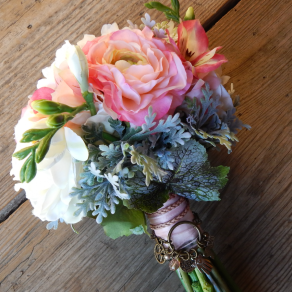 silk pink and white bouquet